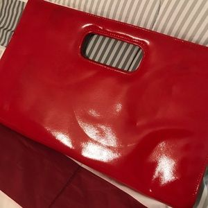 Red Leather Like Clutch Bag 💼